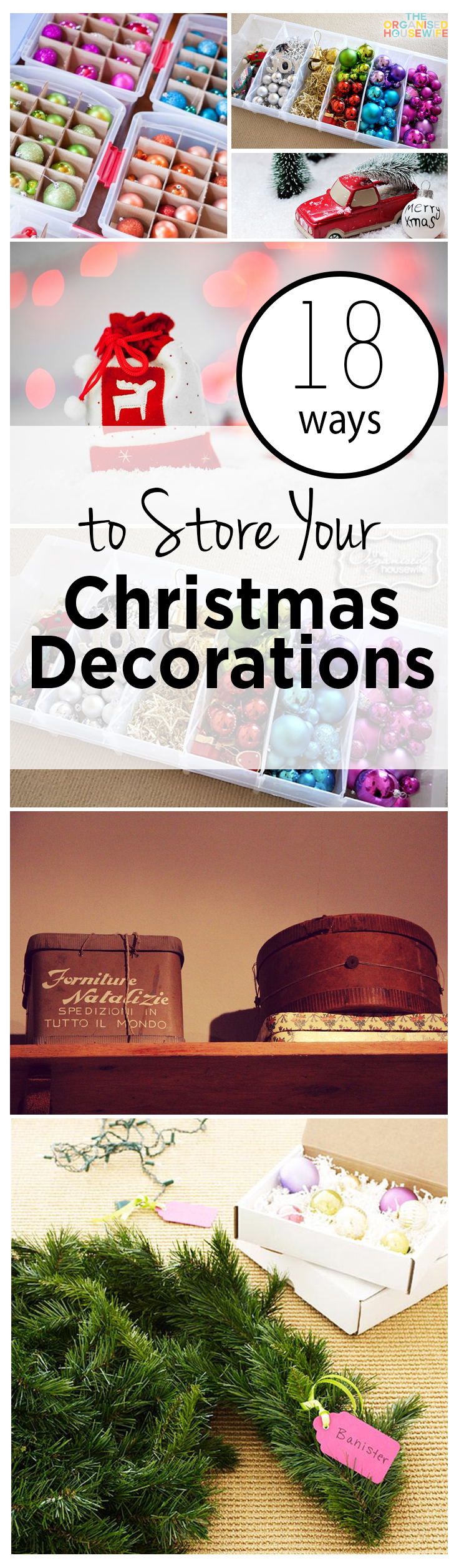 Christmas Storage, How to Store Christmas Decorations, Holiday Decoration Storage, Organization Ideas, Organization Hacks, Holiday Storage TIps and Tricks, Frugal Storage for Christmas Decor