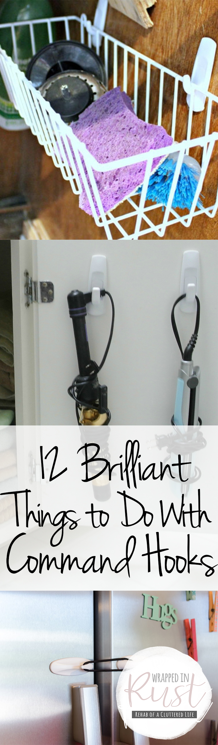 Command Hooks, Things to Do With Command Hooks, Command Hook Hacks, Organizing WIth Command Hooks, How to Organize With Command Hooks, Organization Hacks, Clutter Free Home, Popular Pin