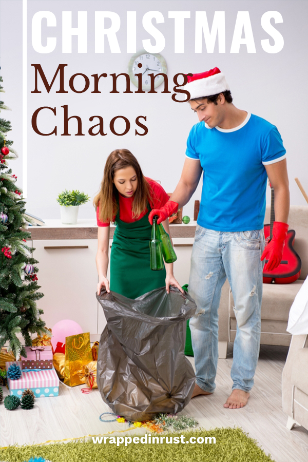 If your house looks like mine on Christmas morning, chaos would be a good way to describe it. I spent hours cleaning for the holidays and in just a few minutes, the place looks like a bomb filled with ribbons, bows and paper exploded. It drives me crazy. However, I have learned a few tips and tricks to make the morning a little more enjoyable. These ideas help you keep up with the clutter while still enjoying the moment. #christmasmorningchaos #howtocleanupchristmasmorning #holidaycleaningtips