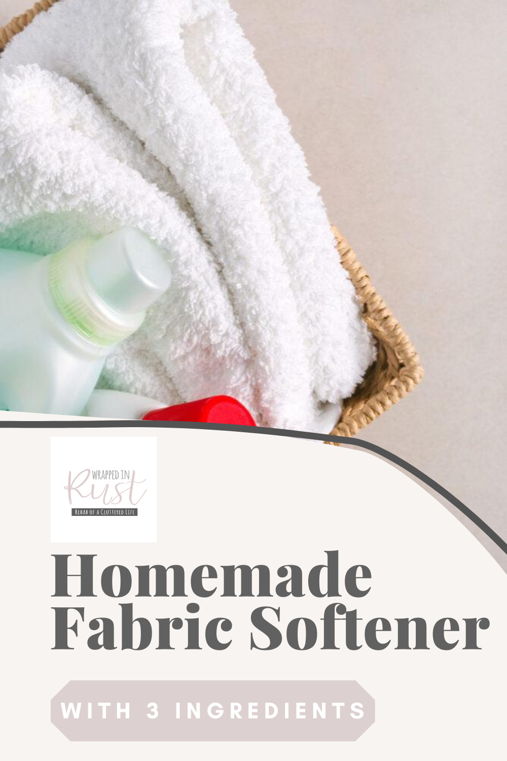 How to make homemade fabric softener that works. Make your money go farther without sacrificing the softness of your towels with homemade fabric softener. #wrappedinrustblog #homemadefabricsoftener