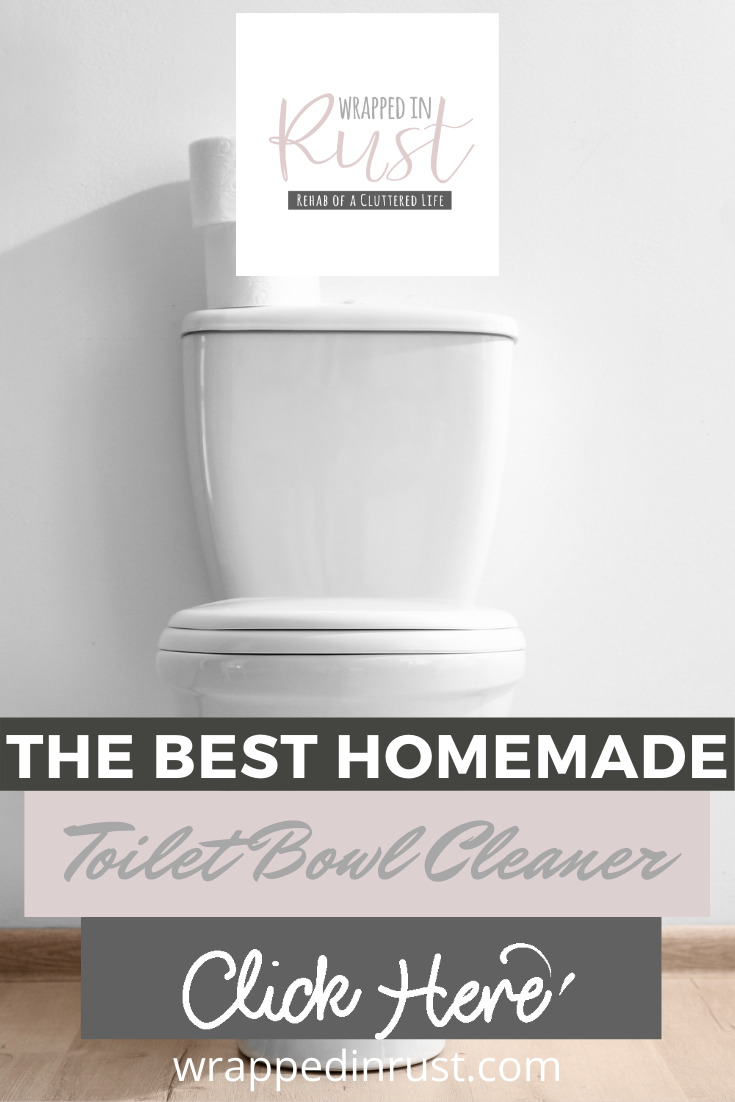 I am a big fan of all natural or homemade products. Just like knowing what I am using. That's why I wanted to share this easy DIY homemade toilet bowl cleaner recipe. All it takes is three ingredients and then put to work. Read the post for the ingredients and how to make instructions. You'll be so glad you did. #homemadetoiletbowlcleaner #homemadecleaningproducts #DIYcleaners #wrappedinrustblog