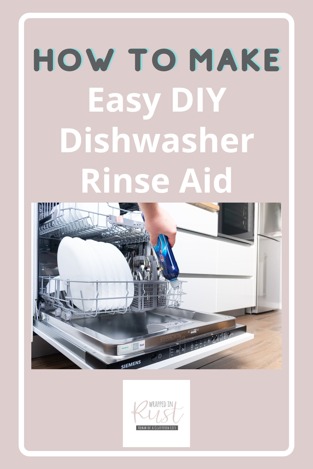Wrappedinrust.com is the best place to find cleaning and organization ideas you'll love. Don't miss out on the latest tricks for making mess-free living a breeze! Learn how you can make your own cleaners, like this DIY dishwasher rinse aid!